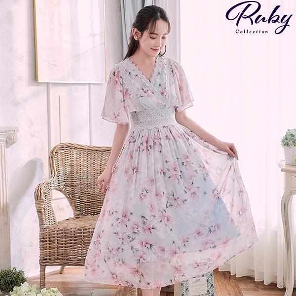 洋裝 印花傘袖腰鏤空V領短袖長洋裝-Ruby s 露比午茶
