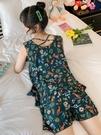 無袖棉綢睡衣少女夏季薄款美背性感綿綢家居服可愛學生人造棉套裝「時尚彩紅屋」