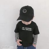 男童長袖T恤 男童純棉長袖T恤2020年秋裝兒童寶寶打底衫條紋袖假兩件套春上衣 小宅女