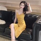 春夏女裝新款復古緞面洋裝韓版chic性感細肩帶純色內搭吊帶長裙