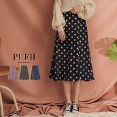 (現貨)PUFII-中長裙 可愛點點鬆緊高腰傘擺燈芯絨中長裙 3色-1025 現+預 秋【CP15426】