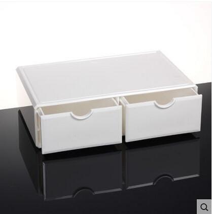 亞克力化妝品收納盒抽屜桌面收納盒韓國大號儲物盒【瓷白色1007-2】
