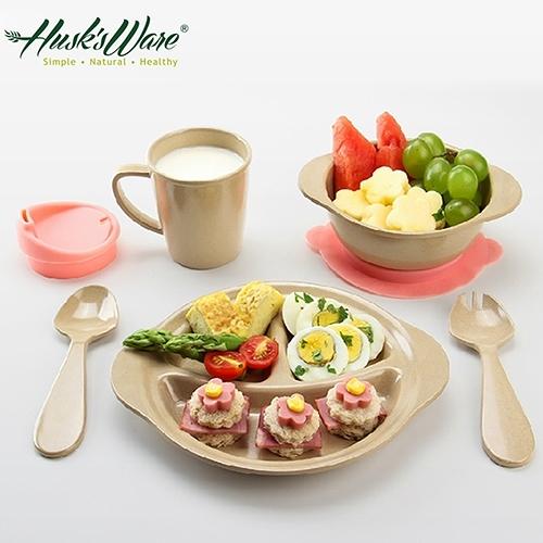 【南紡購物中心】【Husk's ware】美國Husk's ware稻殼天然無毒環保兒童餐具組微笑款
