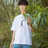秋冬韓版寬鬆短袖T恤男個性貼布小清新五分袖T恤青少年潮