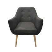【JUSTBUY】納卡北歐鈕扣個性單人沙發椅鐵灰色