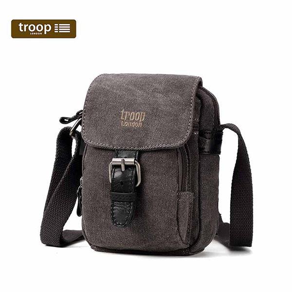 TROOP 英國 (出清價) 帆布包經典品格CLASSIC斜背包-黑色/TRP0213