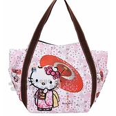 〔小禮堂〕Hello Kitty 帆布托特包側背袋《L.黑粉.拿傘和服》側背包.帆布袋.媽媽包 4582135-12546