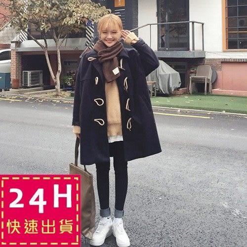 梨卡★現貨 - 牛角扣中長版毛呢大衣 - 日本東京學院風大口袋外套風衣大衣A255