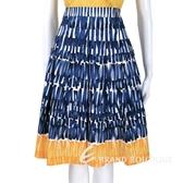 Max Mara-WEEKEND 藍x白x黃色條狀塗鴉及膝裙 1520949-23