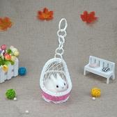小動物模型貓咪吊籃迷你公仔仿真小動物可愛玩具小白兔子小鹿擺件