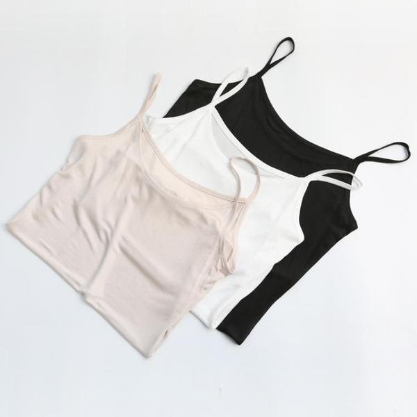2019夏新款含真絲桑蠶絲吊帶小背心女上衣打底薄針織無痕絲滑CB36