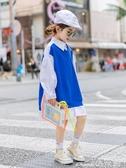 女童襯衫童裝女童襯衫2020春季新款兒童洋氣拼接襯衣中大童學院風襯衫裙潮 1件免運