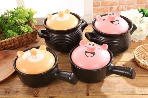 MIT卡通聚熱陶瓷砂鍋 雙耳湯鍋 泡麵鍋 小火鍋 2.3L