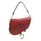 Dior 迪奧 暗紅色粒紋牛皮肩背馬鞍袋 Saddle Bag M0446CWVG 【二手名牌BRAND OFF】