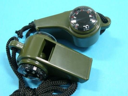 多用途軍用口哨指北針+溫度計 三合一口哨/一個入{定50}~出清商品~