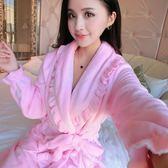 法蘭絨睡袍女冬季加厚加長款正韓甜美可愛男士情侶珊瑚絨浴袍睡衣 聖誕節好康熱銷