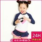 【現貨】兒童二件式兩件式兒童泳衣嬰兒中大童【長袖防曬】女童愛心圓點點卡通裙式梨卡CH659