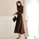 歐媛韓版 長袖洋裝 氣質裙子秋冬女新款修身顯瘦過膝長裙針織毛衣裙打底連身裙