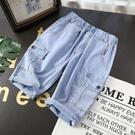 男童牛仔短褲 兒童牛仔七分褲夏季男童天絲棉短褲工裝褲中大童彈力褲中褲-Ballet朵朵