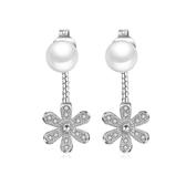 925純銀 天然淡水珍珠 花朵滿鑽白水晶 後勾耳環耳針釘-銀 防抗過敏