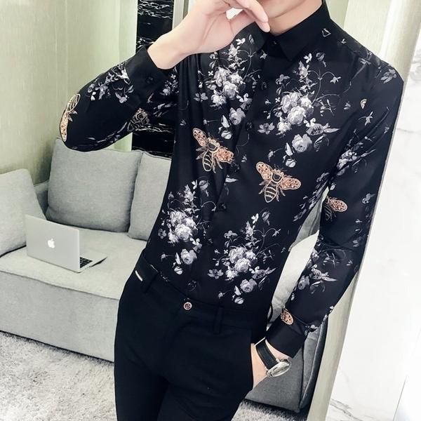 FINDSENSE G6 韓國時尚 春季新款男士長袖襯衫個性蜜蜂印花襯衫