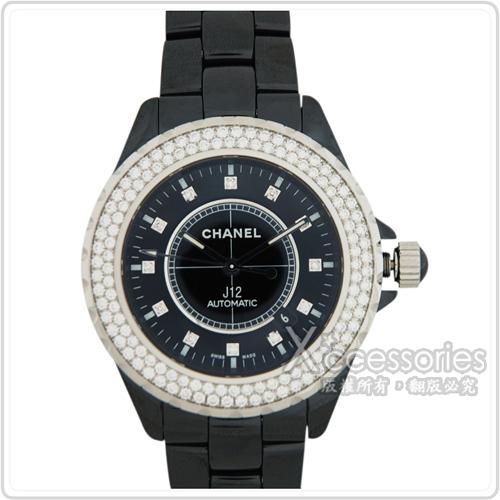 CHANEL J12陶瓷藍寶石鑽錶(黑)
