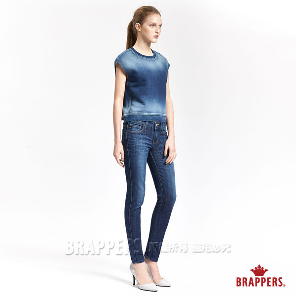 BRAPPERS 女款 牛仔拼接短袖上衣-藍