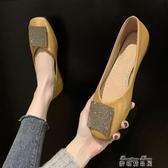 豆豆鞋仙女風豆豆鞋女 春季新款韓版方頭平底單鞋百搭氣質水鑽瓢鞋潮(快速出貨)