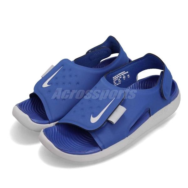 Nike 涼鞋 Sunray Adjust 5 GS PS 藍 灰 小朋友 中童鞋 大童鞋 涼拖鞋【ACS】 AJ9076-400