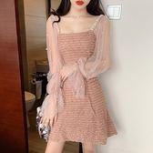 春裝女新款chic小香風氣質中長款網紗拼接長袖收腰顯瘦連身裙夏 亞斯藍