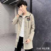 PINK中大尺碼風衣 夏季男士防曬衣韓版中長款風衣外套百搭超薄款透氣上衣服帥氣 LC2169