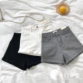 短褲-卷邊高腰牛仔短褲女夏季新款韓版時尚基礎款修身顯瘦闊腳熱褲-奇幻樂園