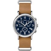 TIMEX 復古美式文學休閒腕錶-藍x淺褐