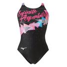 (B4) MIZUNO 美津濃 Stream ACE 女款連身泳衣 FINA認證 N2MA024596 黑X珊瑚紅 [陽光樂活]