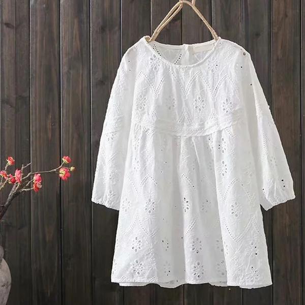 *ORead*蕾絲娃娃衫短袖套頭上衣(白色F碼)