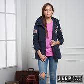 【JEEP】女裝 率性百搭俐落軍裝外套 (藍)
