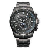 【台南 時代鐘錶 CITIZEN】星辰 Eco-Drive光動能 王建民廣告款 電波對時萬年曆腕錶 CB5887-55H 黑/藍 43mm