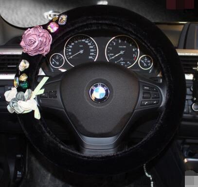 韓國鑽石玫瑰花方向盤套冬季毛絨鑲鑽通用車把套保暖毛絨方向盤套