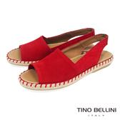 Tino Bellini 西班牙進口全真皮魚口悠活麻編平底涼鞋 _ 紅 B83218A 歐洲進口款