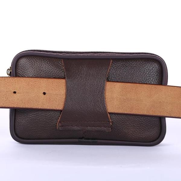 皮質中年手機包男士穿皮帶5.5寸多功能牛皮老人機腰掛包橫款腰包 店慶降價