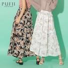 PUFII-寬褲 鬆緊腰唯美樹葉雪紡長寬褲- 0513 現+預 夏【CP20364】