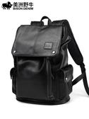 美洲野牛雙肩包男韓版背包大容量旅行包學生書包時尚潮流背包 錢夫人小鋪