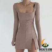 性感開叉緊身針織連身裙女小心機方領顯胸百搭基礎打底裙【創世紀生活館】