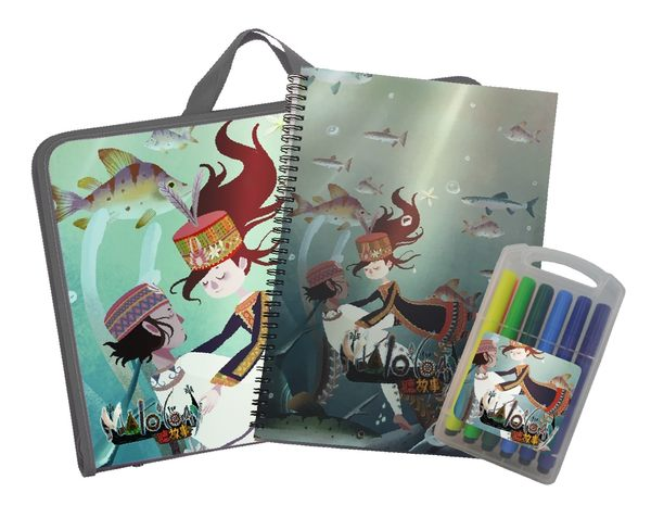 《Malo'loay聽故事》兒童 著色文具組【手提袋裝、12入彩色筆、26款圖畫】