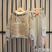 童裝男童套裝加絨加厚春秋冬裝2020新款韓版中大小兒童洋氣兩件套 小艾新品