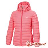 【wildland 荒野】女 收納枕拆帽極暖鵝絨外套『蜜粉紅』0A72103 戶外 休閒 運動 冬季 保暖 禦寒