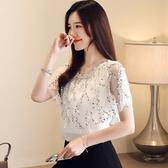 短袖雪紡上衣S-XL短袖 流蘇 亮片 閃閃發光蕾絲衫上衣夏季FNA027快時尚