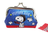 【卡漫城】 Snoopy 雙珠扣式 零錢包 藍 ㊣版 飛行員 史努比 史奴比 小物收納包 日版 糊塗塔克