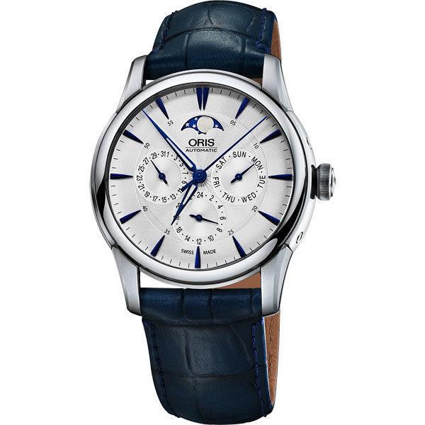 ORIS 豪利時 Artelier 藝術家多功能月相盈虧手錶-銀x藍色錶帶/40.5mm 0178177034031-0752175FC