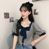 夏季新款法式方領復古泡泡短袖格子襯衫女設計感小眾洋氣短款上衣 【Ifashion】